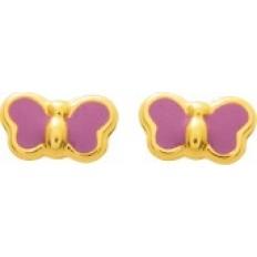 Boucles d'oreilles Or jaune - Papillons émaillé