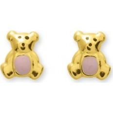 Boucles d'oreilles Or jaune - Oursons émaillé