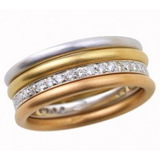 ALLIANCE DELICATESSE OR BLANC PAVAGE DIAMANTS ET 3 ANNEAUX MIKADO OR ROSE/OR JAUNE/OR BLANC