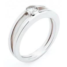 Solitaire Or blanc Diamant - Victoire