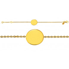 Bracelet Naissance Galet Uni chaîne forçat miroir or jaune