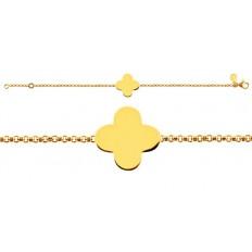 Bracelet Naissance Trèfle chaîne jaseron or jaune