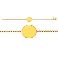 Bracelet Naissance Galet Uni chaîne jaseron or jaune