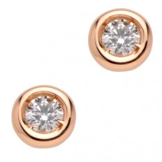 Boucles d'oreilles - Puces diamants - Or rose
