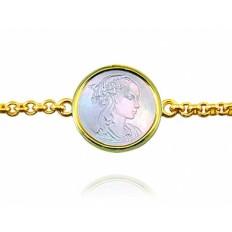 Bracelet Naissance Vierge Adorazione nacre chaîne jaseron or jaune