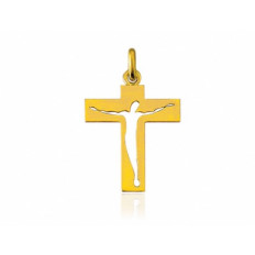 Croix Christ Ajouré or jaune