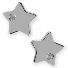 Puces d'oreilles Etoiles - Or blanc - Diamants
