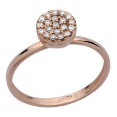 PAILLETTES BAGUE OR ROSE ET DIAMANTS BLANCS 7MM