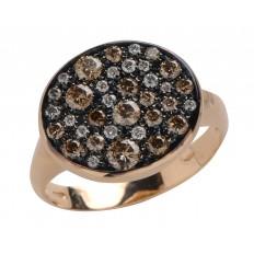 Bague Sable - Diamants Blancs et diamants bruns - Or rose