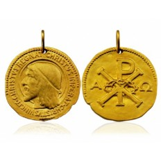 Christ-Roi Double Face 18 mm or jaune