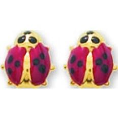 Boucles d'oreilles Or jaune - Puces Coccinelles