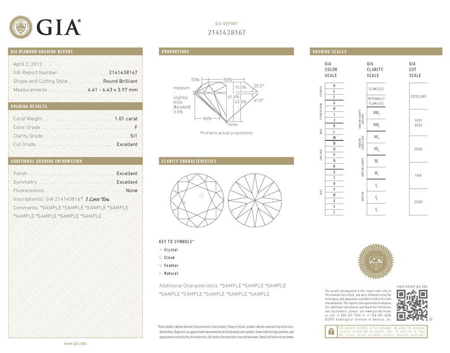 Certificat Diamant GIA - Sample - Pimento.fr