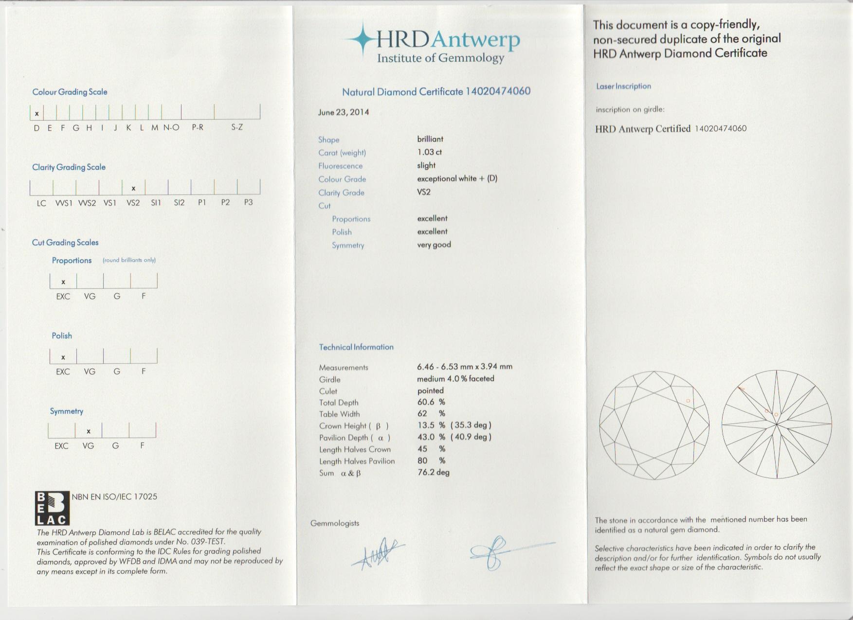 Certificat Diamant HRD - Sample - Pimento.fr