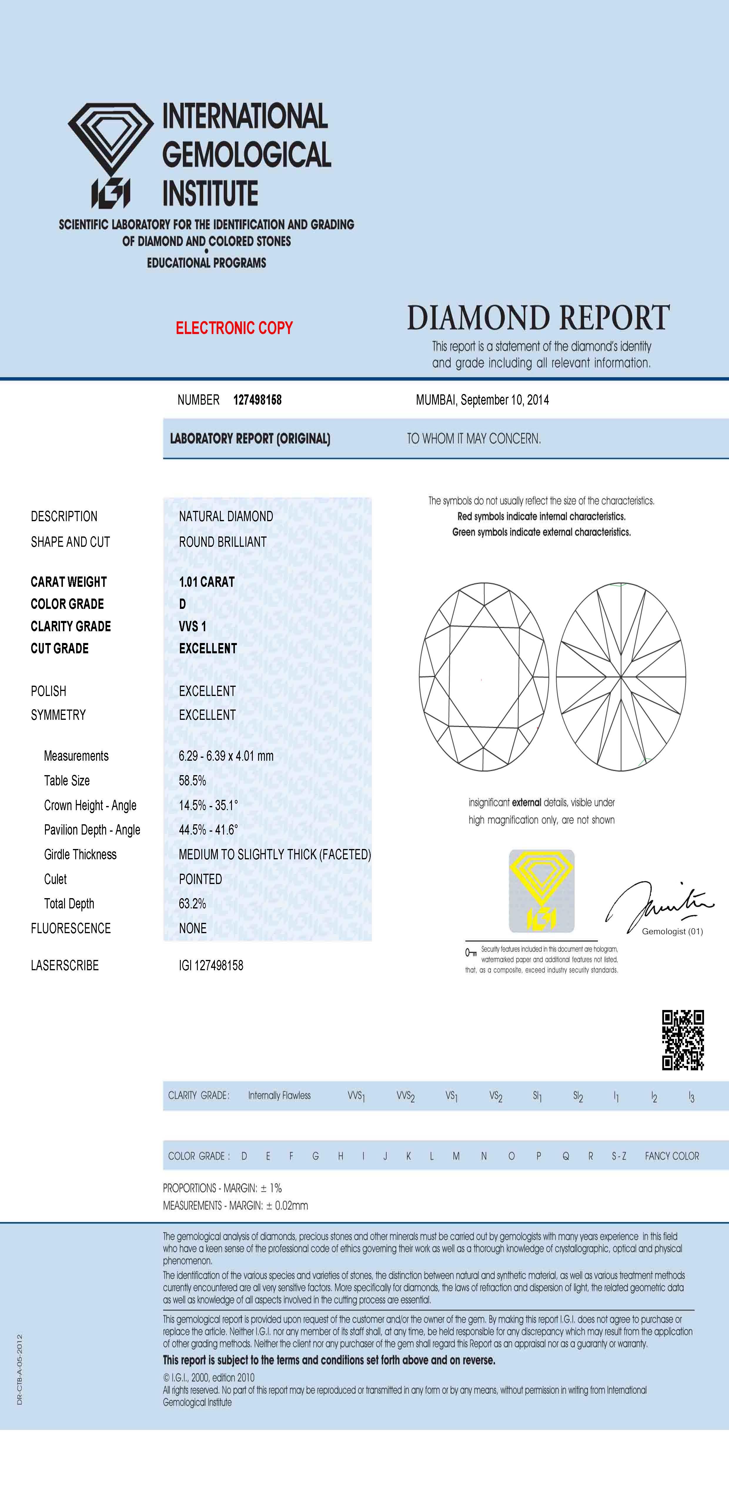Certificat Diamant IGI - Sample - Pimento.fr
